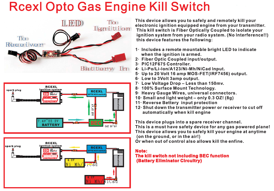 new rcexl opto gas engine kill switch rceksv12 for rc gas