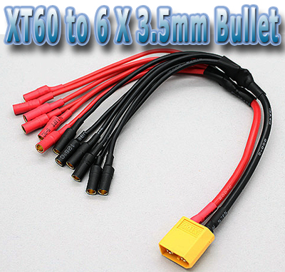 xt to x mm bullet multicopter esc power breakout cable xt60 to 6 x 3 5mm bullet multicopter esc power breakout cable