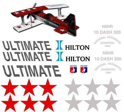 Ultimate 10 dash 300 hilton decal sets